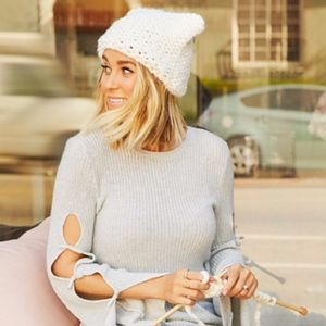 LC LAUREN CONRAD Black & Ivory Chunky Knit Cat Hat